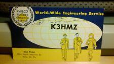 amateur ham radio QSL postcard K3HMZ Alan Fisher 1960 Philadelphia Pennsylvania