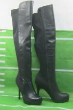 """new Black 5""""Stiletto High Heel Sexy Long Slim Stretch Fit Knee Boots Size 9"""