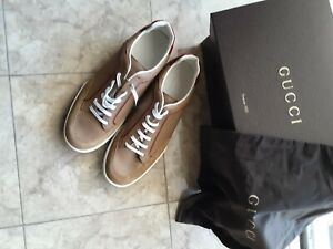 Gucci Sneaker Shoe Camel  Size 11 Suede Softy Authentic