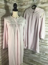 Miss Elaine Pink 2 Pc Set Gown Matching Full Zip Robe Long Sleeve Short Size Med