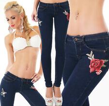 Jeans donna pantalone applicazioni ricamo rose&usignolo blu scuro skinny nuovo