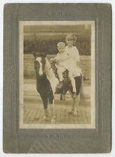 YOUNG BOY + GIRL RIDING BLACK   WHITE PONY VINTAGE CAB PHOTO