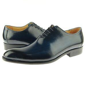 Carrucci Plain Toe Wholecut Oxford, Men's Dress Leather Shoes, Cobalt