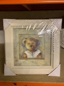 Really Nice Teddy Bear Wall Hanging Picture In A Frame.