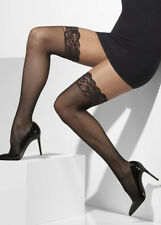 Ladies Womens Black Lace Top Fishnet Hold up Thigh High Stockings Fancy Dress