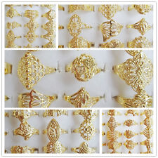 20pcs Wholesale Jewelry Lots Mixed Hollow Style Gold Plated Rings Free Shipping