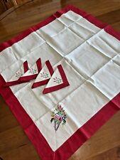Vintage Lansburgh Washington Linen Embroidery Card Table Cloth 2 Napkins Red