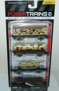 Power Trains Series 1 - Military Freight - 4 Train Cars - New Sealed