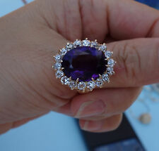 Huge Large Amethyst 2.50 European Mine cut Diamond vintage cluster ring