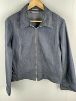 JACQUI-E - Women's Light Weight Zip Jacket - Blue Denim Look Material - Size 14