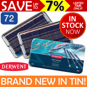 NEW IN TIN 72x DERWENT INKTENSE Colour Pencils Coloured Full Set Mix w/ Water