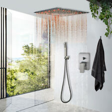 Brushed Nickel Shower Faucet System Set 16 inch LED Rainfall Ceiling  Mounted