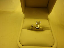Cat ring with rhinestones in cat face, adjustable, no box