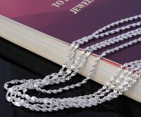 "925 Sterling Silver Women's 30"" Inch Necklace Snake Link Chain +GiftPg"