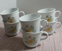 Set of 6 Vintage Corelle Corningware Mugs Cups Spring Meadow Wildflower. Lovely