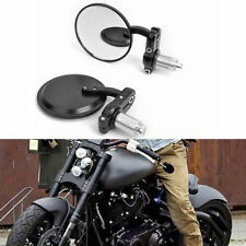 "Motorcycle 7/8"" HandleBar 3"" Round End Mirror Cafe Racer Bobber Clubman Black"