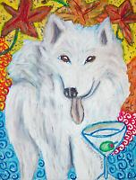 SAMOYED Drinking a Martini Fall Leaves Vintage Art 8 x 10 Signed Giclee Print