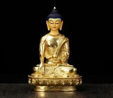 "8"" Asian Antique Tibetan Buddhism copper gilt hand painting Sakyamuni statue"