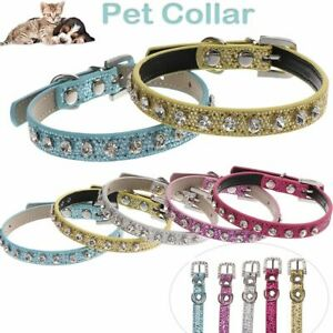 Neck Chain Soft Crystal Diamond Cat Collar Safety Band Strap Buckle Cat Leash