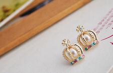 royal crown princess earrings gold colour rhinestone pearl diva tiara crystal UK