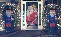 Outdoor Christmas Santa Claus, Snowman, and Toy Soldier ShrubHugger Decoration