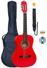 PALMA 3/4 tamaño Rojas Guitarra Clásica Kit Incluye Bolsa,correa, Cuerdas y