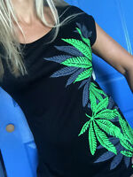 LEAF weed UNIQUE design t-shirt Rayon tee top sleeveless L PLUS 1X 2X 3X