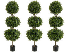 """3 Artificial 56"""" Boxwood 3 Ball Topiary Tree W Pot In Outdoor Plant Patio Fake"""