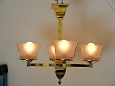 Antique Mission, Arts and Craftsman, Bungalow Chandelier, Frosted Glass Shades