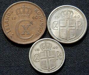 ICELAND 1940, 3 RARE DIFF TYPE CIRC COINS: 1 EYRIR , 2 AURAR, 10 AURAR ALL 1940