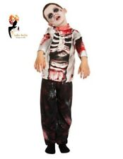 Boys ZOMBIE COSTUME Gothic Ghost Skeleton Scary Halloween Fancy Dress