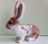 Needle felted wool Brown and white rabbitmini sculpture one of a kind