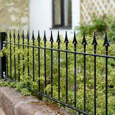 More details for spear top black wrought iron railings garden wall topper 181cm (w) x 48.5cm (h)