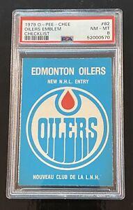 1979 OPC HOCKEY # 82 OILERS EMBLEM CHECKLIST FRESHLY GRADED w/ Gretzky RC PSA 8