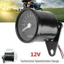 12V 12000RPM LED Black Motorcycle Tachometer Speedometer Gauge Engine Motor Bike