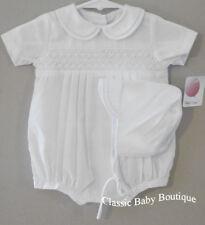 NWT Petit Ami Boys White Smocked Romper Bubble Hat Newborn Baby Christening