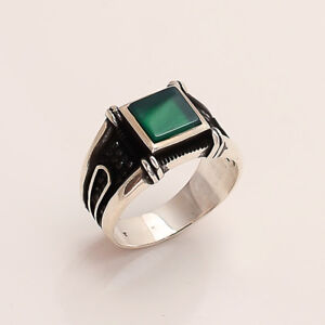 Natural Green Onyx Men's Ottoman Handmade Ring 925 Sterling Silver Fine Jewelry