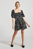 Forever 21 Black White Polka Dot Smocked Dress Small S