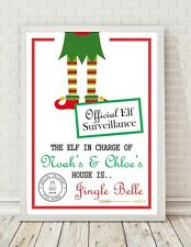Elf Surveillanxce Christmas Personalised A4 Poster Print PO171