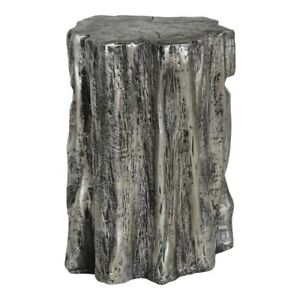 """19.5"""" T Stool Antique Silver Tree Trunk One of a Kind Ceramic Cylindrical"""