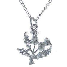 """Scottish Necklace - Sterling Silver Thistle Pendant with 18"""" Silver Chain & Box"""