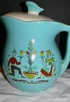 Vintage McCoy Pottery USA Pitcher Cookie Jar Gay Time Dutch Boy & Girl Turquoise