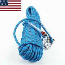 10M Static Rescue Rope Rock Climbing Rappelling Safety Cord W/Carabiners