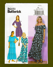 Off Shoulder Dress Sewing Pattern~Elastic Neckline (Sizes L-XXL) Butterick 6451