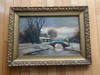 Painting Barbizon Oil on Board Landscape Winter Signed Wood Frame 29x21 Inches