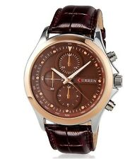 CURREN 8138 Men's Fashionable Water Resistant Wrist Watch with Faux Leather Band