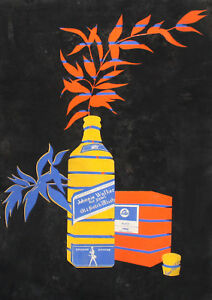 Vintage modernist still life gouache painting Scotch whiskey poster signed