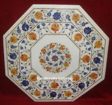 White Marble Inlay Coffee Table Top, Handmade Stone Vintage Inlay Work Table Top