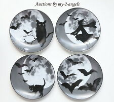 S/4 NEW Williams-Sonoma HALLOWEEN MOON PLATES *BLACK WHITE witch bats owl SPOOKY