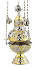 Christian Church Two Colored Liturgy Thurible Censer 4 chains 12 bells free s&h